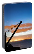 Silhouette Of The Davit In Dublin Port Portable Battery Charger