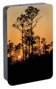 Silhouette Of Trees At Sunset Portable Battery Charger