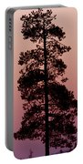 Silhouette Tree At Sunrise Portable Battery Charger