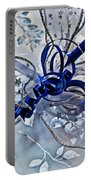 Silver And Blue Wrapped Gift Art Prints Portable Battery Charger