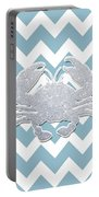 Silver Glitter Crab Silhouette - Chevron Pattern Portable Battery Charger