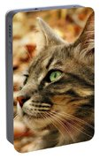 Silver Grey Tabby Cat Portable Battery Charger