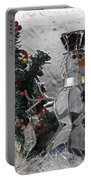 Silver Snowman With Christmas Tree Portable Battery Charger