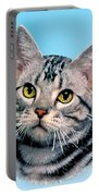 Silver Tabby Kitten Original Painting For Sale Portable Battery Charger