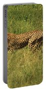 Single Cheetah Running Through The Grass Portable Battery Charger