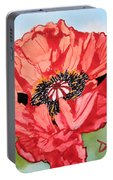 Single Oriential Poppy Portable Battery Charger
