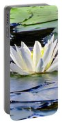 Single White Lotus Portable Battery Charger