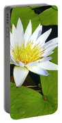 Single White Water Lily Portable Battery Charger