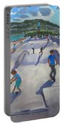 Skateboaders  Teignmouth Portable Battery Charger by Andrew Macara