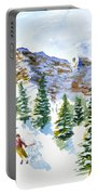 Skier In The Trees Portable Battery Charger