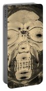 Skull In Negative Sepia Portable Battery Charger
