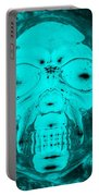 Skull In Negative Turquois Portable Battery Charger