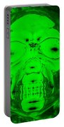 Skull In Radioactive Negative Green Portable Battery Charger