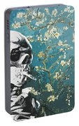 Skull With Burning Cigarette On Cherry Blossom Portable Battery Charger