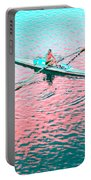 Skulling Boat At Sunset Portable Battery Charger