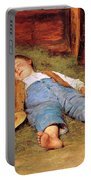 Sleeping Boy In The Hay Portable Battery Charger