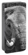 Sleepy Elephant Lady Black And White Portable Battery Charger