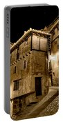 Small House In Albarracin At Night Portable Battery Charger