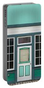 Small Store Front Entrance To Green Wooden House Portable Battery Charger