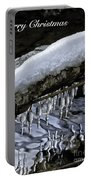Snow And Icicles Merry Christmas Card Portable Battery Charger