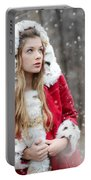 Snow Beauty In Red Portable Battery Charger