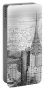 Snow - Chrysler Building And New York City Skyline Portable Battery Charger