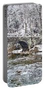 Snow Coming Down On The Wissahickon Creek Portable Battery Charger