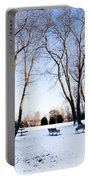 Snow Covered Green Portable Battery Charger