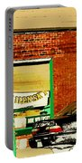 Snow In Spring Wilensky Deli Green Door And Brick Wall Plateau Montreal City Scene Carole Spandau Portable Battery Charger