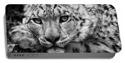 Snow Leopard In Black And White Portable Battery Charger