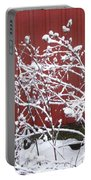 Snow On Burdock Burr Weed Against Red Barn Siding Portable Battery Charger