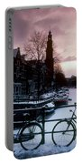 Snow On Canals. Amsterdam, Holland Portable Battery Charger