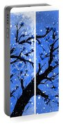 Snow On The Blue Cherry Blossom Tree Portable Battery Charger