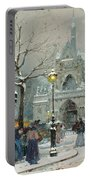Snow Scene In Paris Portable Battery Charger by Eugene Galien-Laloue