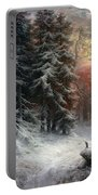 Snow Scene In The Black Forest Portable Battery Charger