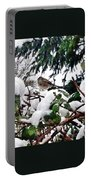 Snow Scene Of Little Bird Perched Portable Battery Charger