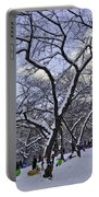 Snowboarders In Central Park Portable Battery Charger