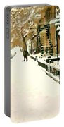 Snowed In Verdun Montreal Paintings Urban Winter City Scenes Art Carole Spandau Street Scene Artist Portable Battery Charger