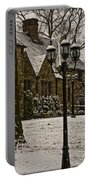Snowing At Stokesay Castle Portable Battery Charger