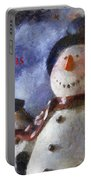 Snowman Merry Christmas Photo Art 05 Portable Battery Charger