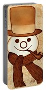 Snowman With Pipe And Topper Original Coffee Painting Portable Battery Charger by Georgeta  Blanaru