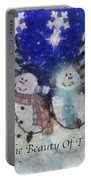 Snowmen Enjoy The Beauty Photo Art Portable Battery Charger