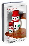 Snowmen - Greetings - Happy Holidays Portable Battery Charger