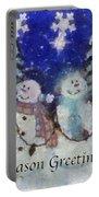 Snowmen Season Greetings Photo Art Portable Battery Charger