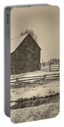 Snowstorm At The Ranch Sepia Portable Battery Charger