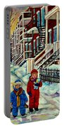 Snowy Day Rue Fabre Le Plateau Montreal Art Winter City Scenes Paintings Carole Spandau Portable Battery Charger