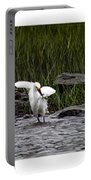 Snowy Egret Fishing Portable Battery Charger