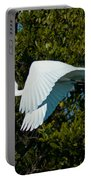Snowy Egret In Flight Portable Battery Charger