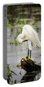 Snowy Egret In Swamp Portable Battery Charger