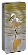 Snowy Egret Looking For Fish Portable Battery Charger